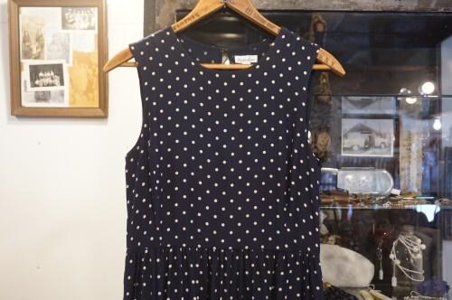 Steven Alan navy polkadot silk maxi Dress