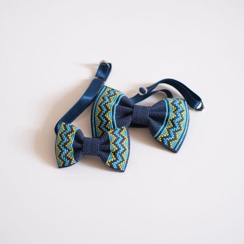 刺繍の親子蝶ネクタイ【ネイビー】