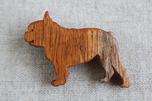 木製フレンチブルドッグブローチ