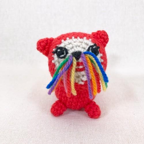 ブサカワ編みぐるみ「赤いネコ3」