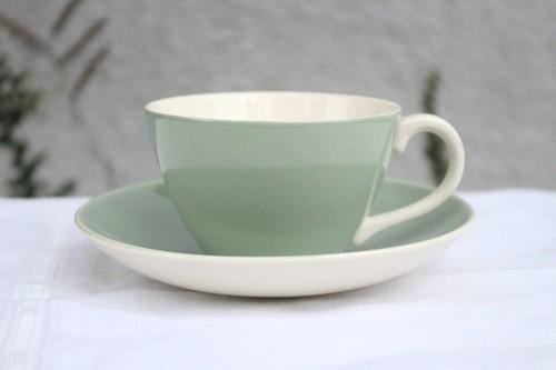 カップ&ソーサー イギリス POOLE プール CELADON セラドン 青磁色