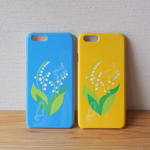 【S/Msize】幸福の花・鈴蘭と猫のプラスマホケース #iPhoneX対応
