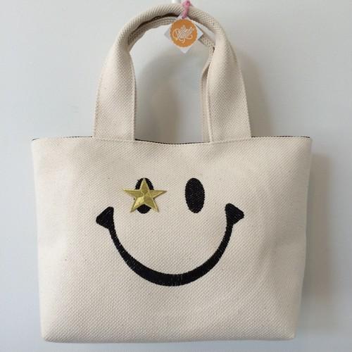キャンバス ミニトートバッグ S【ホワイト:☆スマイル】