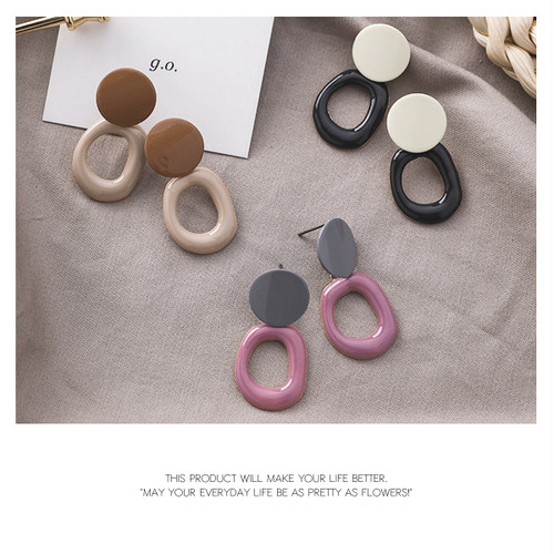 【pierced earring】3color Color plate earrings[kgf0552]
