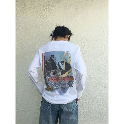 collage long sleeve tee / white