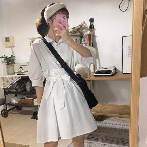 【ワンピース】春新作若見えPOLOネックスリムウエストホワイトショートワンピース