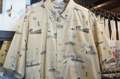 90's WOOLRICH  fly fishing printed cotton s/s Shirt