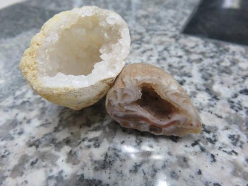 モロッコジオード水晶と瑪瑙ジオード水晶セット