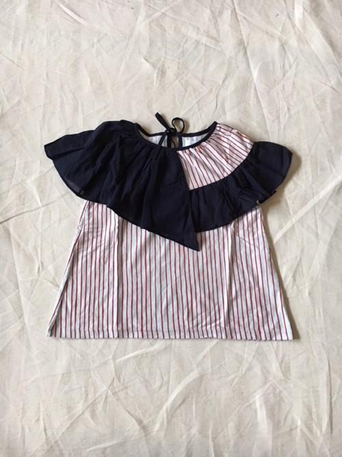 30%off flare  stripe blouse サックス×レッド Lサイズ ¥9,936→