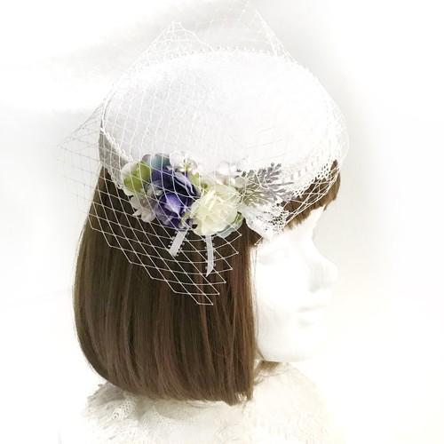 1点物★ Bouquet Cielカクテルハット(オフ白×sax)