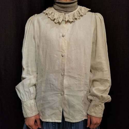 Lace collar tuck sleeves blouse [G-1071]