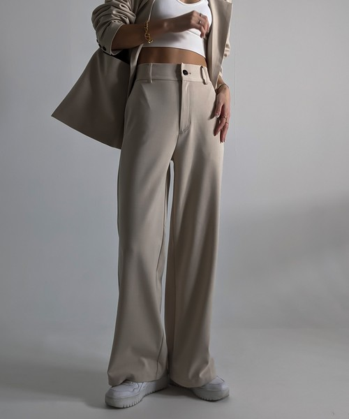 Piping wide slacks pants