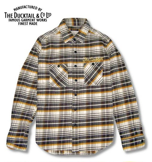 """DUCKTAIL CLOTHING LONG SLEEVE HEAVY FLANNEL SHIRTS """"HIDEAWAY"""" BROWN×YELLOW"""