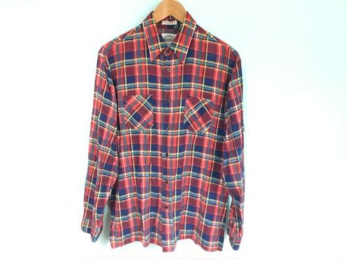 ビンテージ 赤 青 黄 系 チェック プリント ネルシャツ 80s OLD