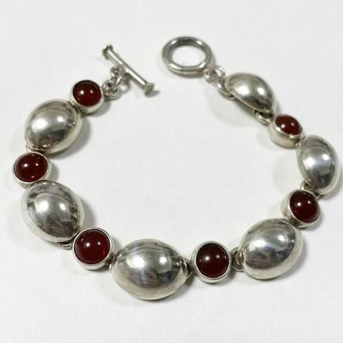 Vintage Red Agate & Sterling Link Bracelet Made In Mexico
