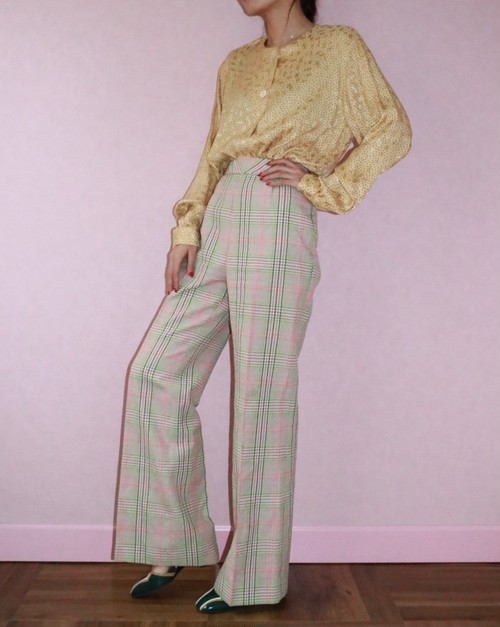 70's checked spring color pants