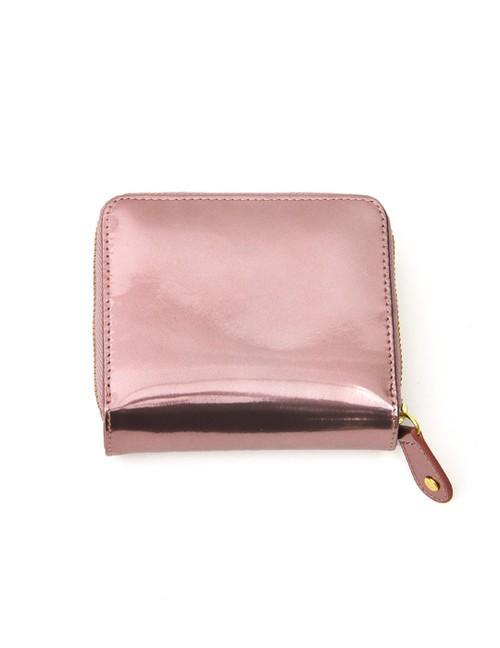 sparkling メタリックレザーラウンド二つ折り財布  Nananoel ピンク