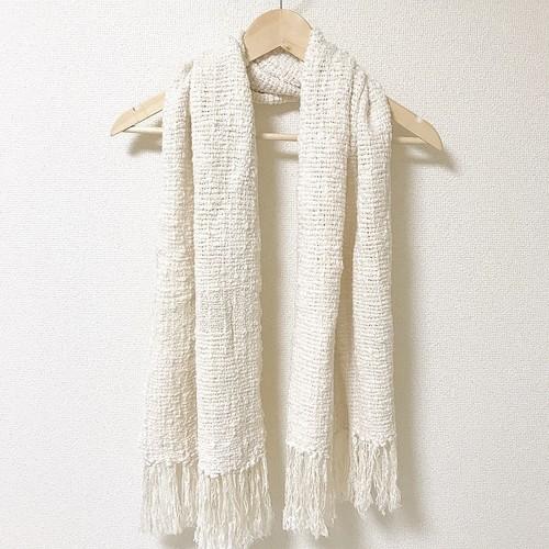 手織り 雪❄️マフラー  0028  handweaving scarf