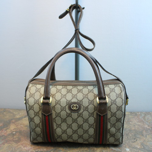 .OLD GUCCI SHERRY LINE GG PATTERNED 2WAY BOSTON SHOULDER BAG MADE IN ITALY/オールドグッチシェリーライン2wayボストンショルダーバッグ 2000000034362