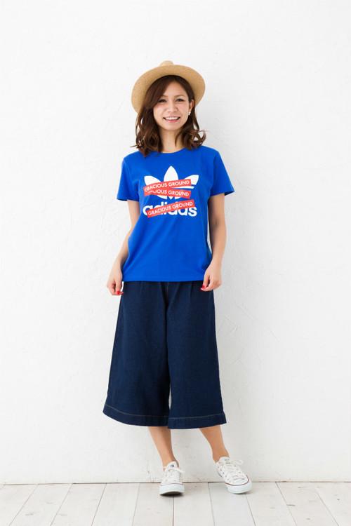 プリント ロゴ Tシャツ 半袖  ロイヤルブルー ブランドパロディデザイン!GRACIOUS GROUND ボックスックスロゴ