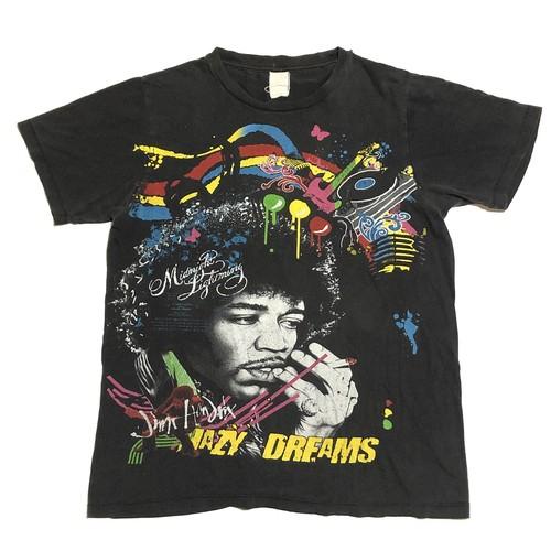 90s Jimi Hendrix ジミヘン ヴィンテージ Tシャツ ジミーヘンドリックス バンドT ロックT 両面プリント(黒,L)