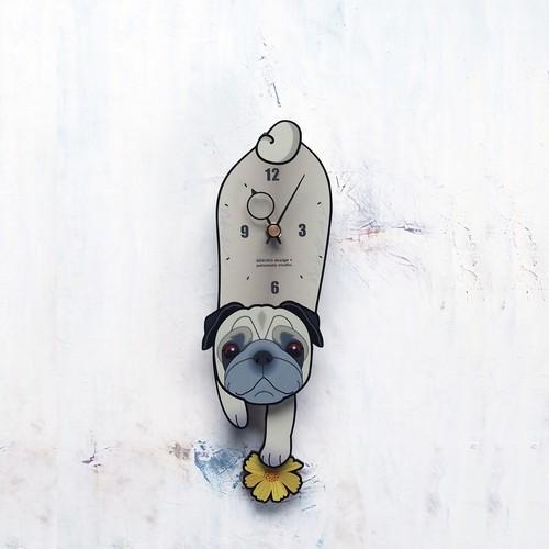 D-18 パグ-犬の振り子時計