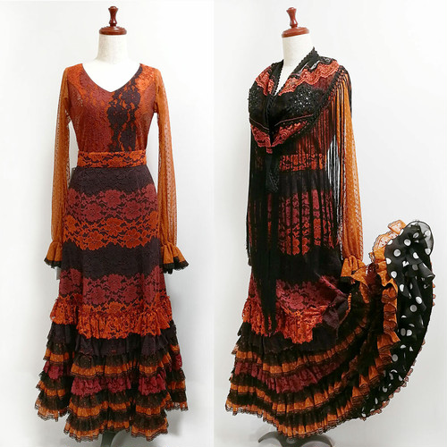 MF-Lola ツーピース&マントンシージョ / 茶・黒系 スペイン製・Marina moda & flamenca