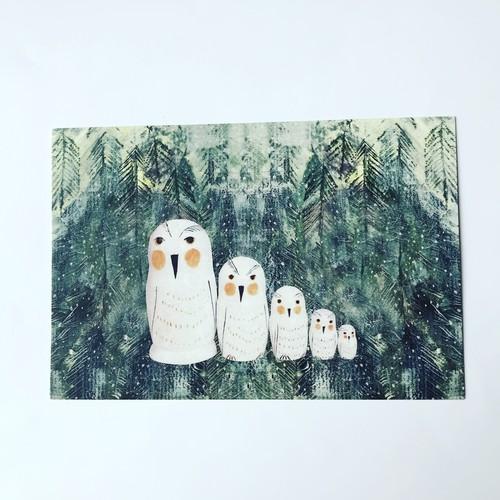 ポストカード「白いフクロウの森」
