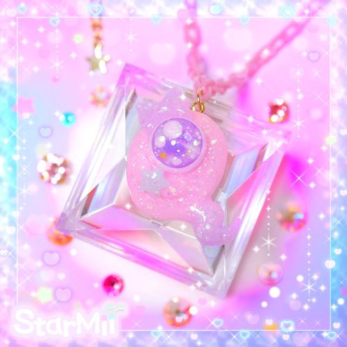 おばけちゃんのネックレス♪(ピンク×パープル)