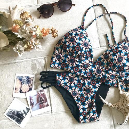 *aqua blanca*Reversible Triangle Bikini BLU846