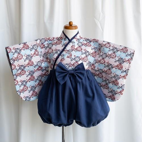【80-90cm】koromo袴 七宝×スモーキーブルー