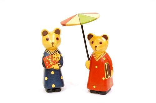 木彫りのバリ人形12 クマ親子