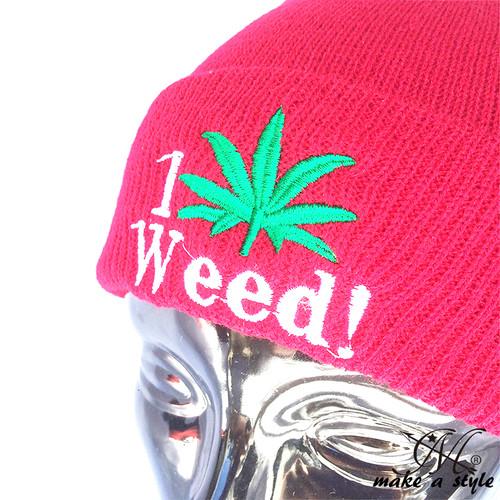WEED ウィード マリファナ ガンジャ ヘンプ 草 ハッパ ニットキャップ ワッチキャップ ニット帽 846