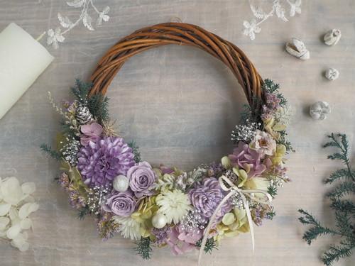 Lune Bonheur d`argent*ハーフムーンリース*プリザーブドフラワー*ウィンターリース*お花*ギフト*冬の贈りもの*2018