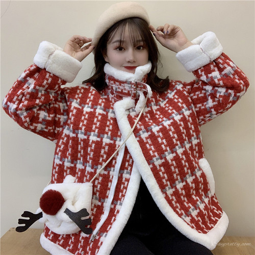 【アウター】秋冬ファッション切り替えPOLOネックチェック柄コート