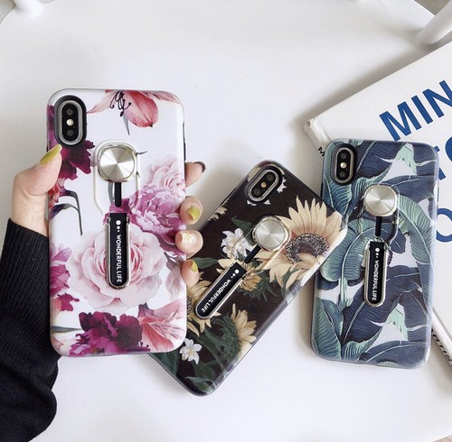 【送料無料】iPhone iPhoneケース iPhoneカバー アイフォンカバー ケース 花柄 スタンド 指輪 フィンガーリング