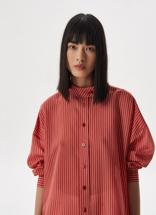 VISCOSE SHIRT WITH HEM GATHERING