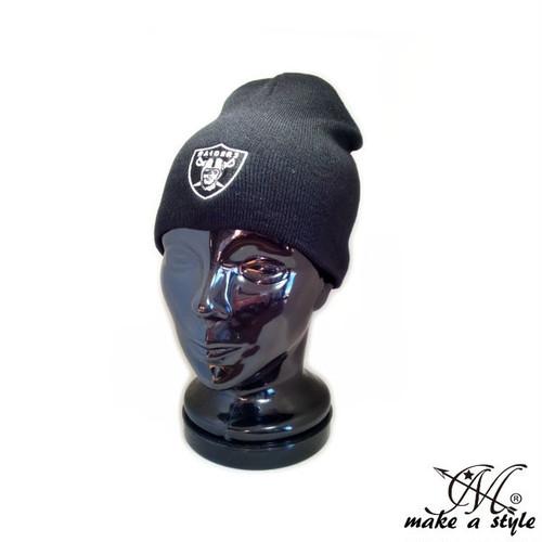 レイダース raiders オークランド NFL ニットキャップ ワッチキャップ ビーニー B系 ストリート系 黒 ブラック 53