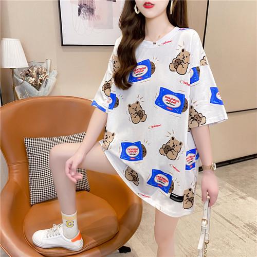 【tops】今季も大流行 定番ラウンドネック くまちゃんTシャツゆったり2色