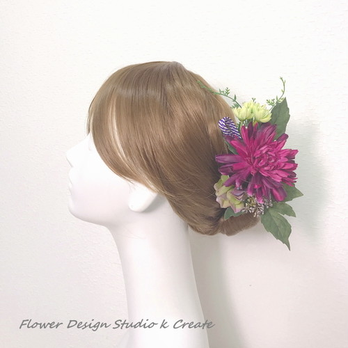 プラム色のダリアのUピン(6本セット) 造花 アーティフィシャルフラワー 髪飾り 紫 ワイン 浴衣
