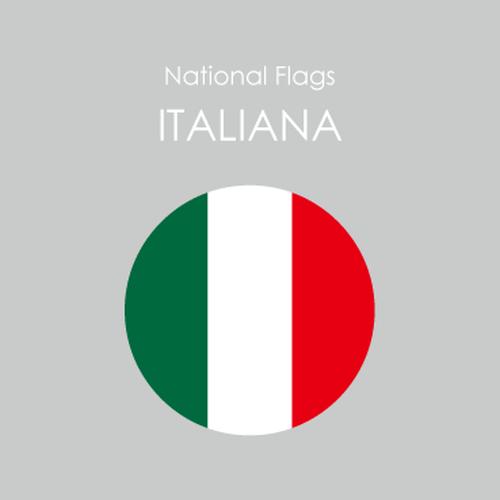 円形国旗ステッカー「イタリア」