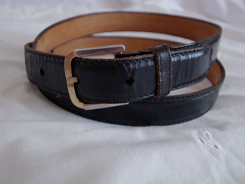 Euro Vintage Black Leather Belt