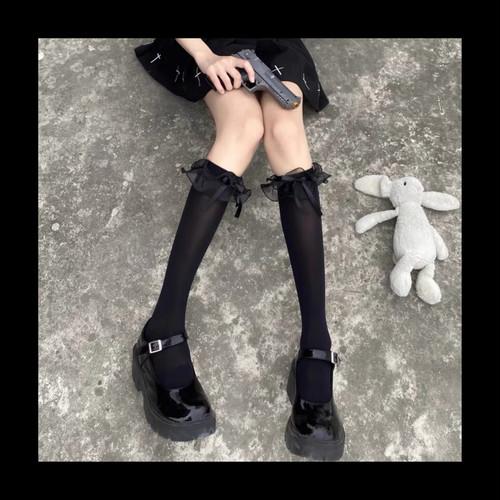 【お取り寄せ】オーガンジーフリル 透け ハイソックス 2色