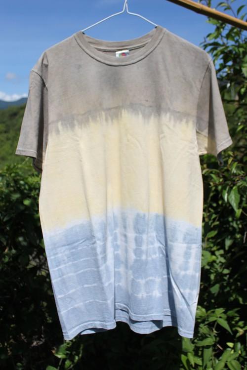 草木染、ベンガラ藍染め、ベンガラ煤染め、絞り綿100Tシャツ 男性用Lサイズ (セール価格)