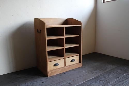 引出し2杯付き桝目の収納棚 シェルフ 古家具
