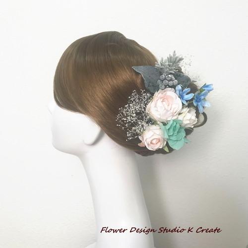 ミントブルーのお花のヘッドドレス(15本セット) ミント グリン ウェディング 髪飾り 結婚式 造花 紫陽花