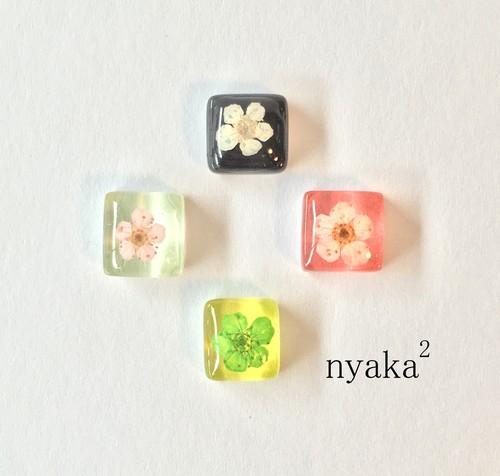 【プチデコ】花ガラスタイル ピアス/イヤリング/ヘアピン/リング