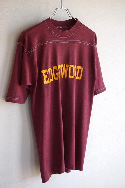 "1980's ""EDGEWOOD"" フットボールTシャツ エンジ 実寸(M位)"