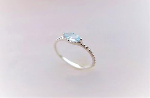 アクアマリン*アンティーク風シルバ-リング*silver ring