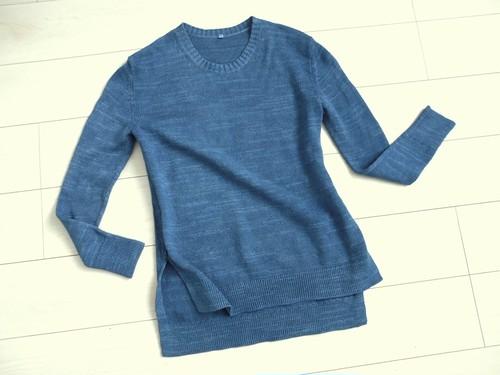 ◆天然灰汁発酵建て 本藍染◆ オーガニックコットン スラブ編ニットセーター